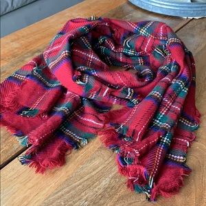 Merona red plaid winter scarf